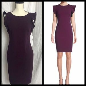 Calvin Klein Purple Ruffle Sleeve Sheath Dress